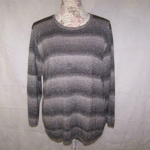 Alfred Dunner Womens 1X Sweater Gray Silver